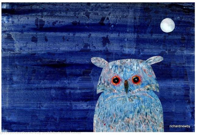 Blue Owl Acrylic collage width=