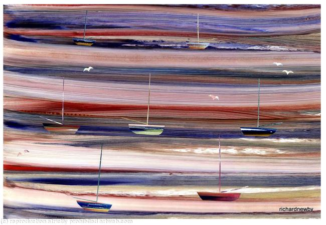 Low Tide at Blakeney Acrylic collage width=