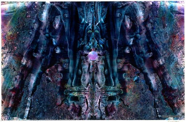 Meditation Acrylic collage width=