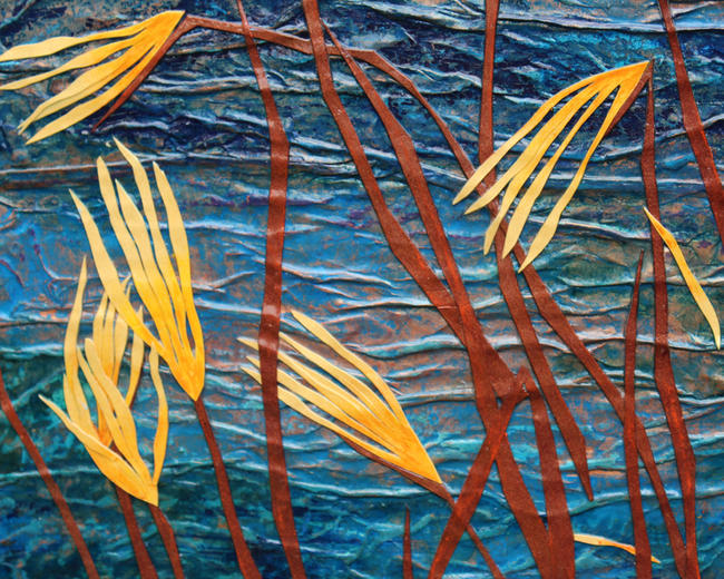 Copper Lake - detail 1 mixed media painting itemprop=