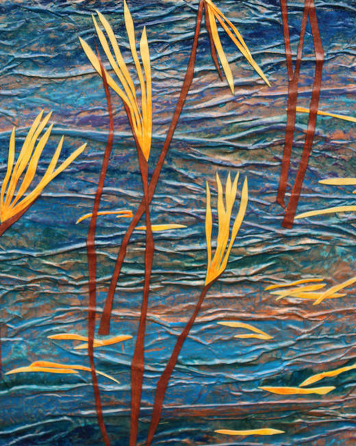 Copper Lake - detail 2 mixed media acrylic painting and oil pastel with collage itemprop=