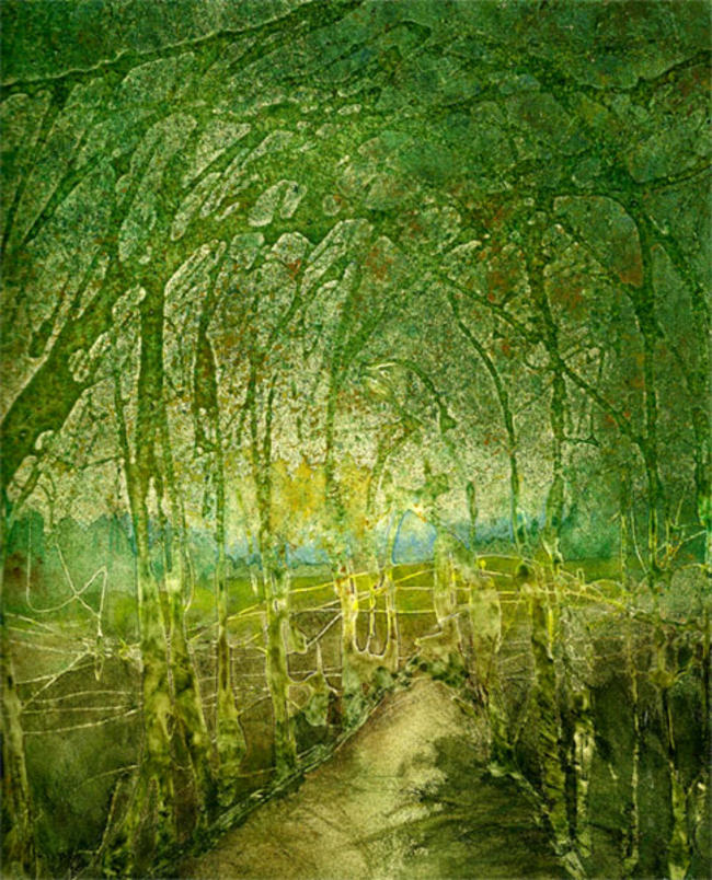Green Wood mixed media painting itemprop=