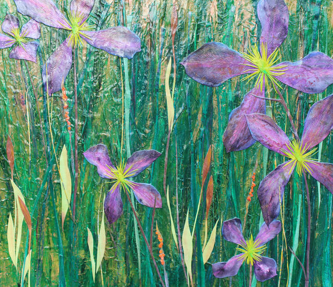 Meadow with Purple mixed media painting 46x53cm