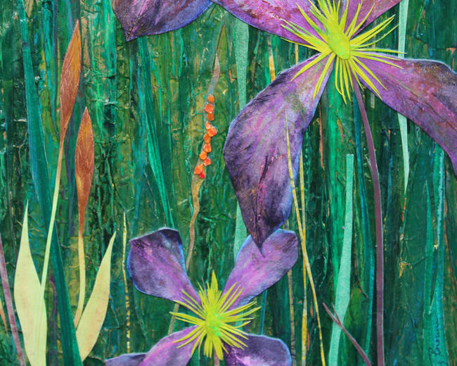 Meadow with Purple - detail mixed media painting itemprop=