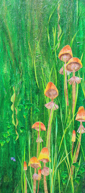 Meadow with Mushrooms mixed media painting 33x76cm