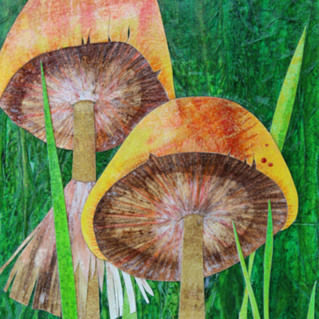 meadow with mushrooms detail 2 copy mixed media painting itemprop=