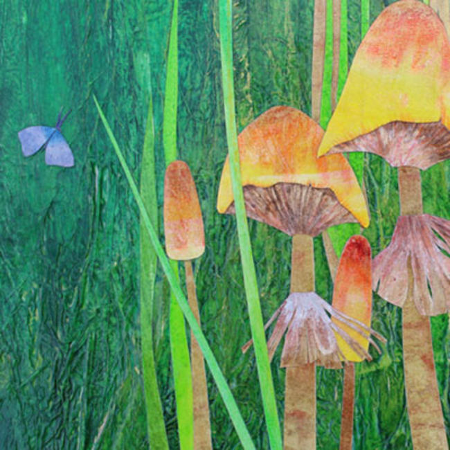 Meadow with Mushrooms detail mixed media painting itemprop=