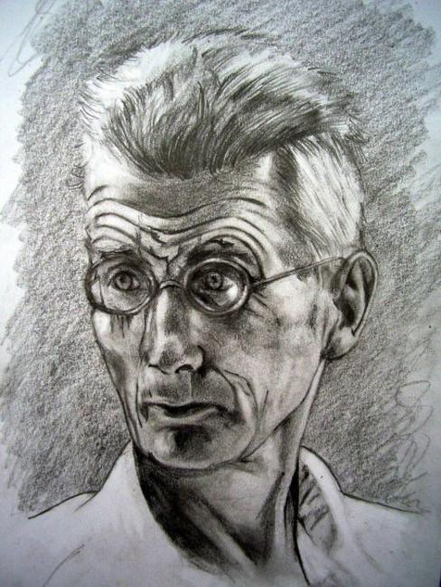 Samuel Beckett Charcoal and graphite on paper 21x29cm