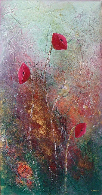 Forest Poppies Acrylic and mixed media on canvas (stretched canvas on a circular frame) 20x40cm