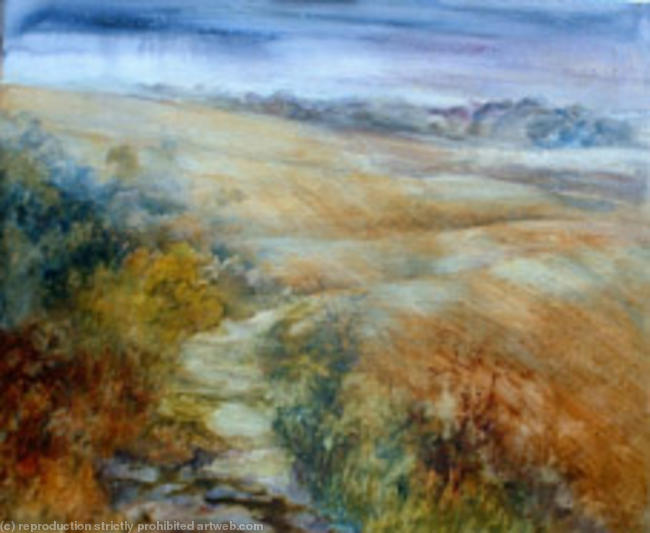 Downland sweep watercolour on canvas 40x60cm