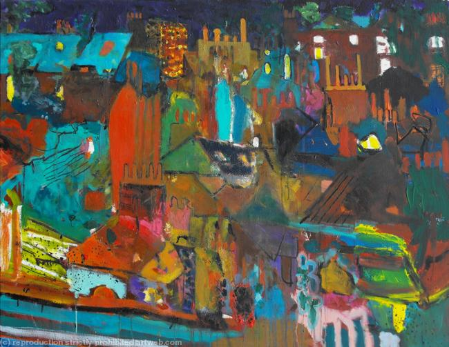 Brixton at Night acrylic on canvas 91x71cm