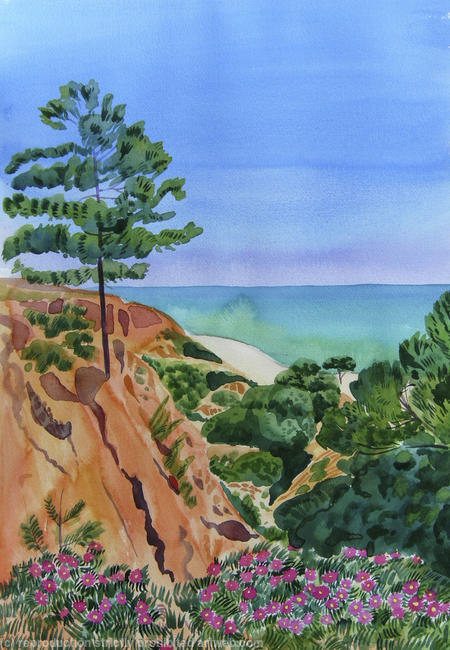 Pine trees, Algarve Watercolour 30x45cm