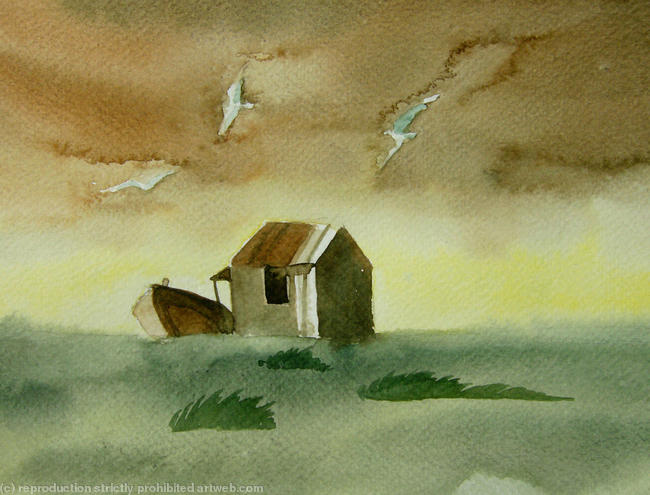 Hut Watercolour on paper itemprop=