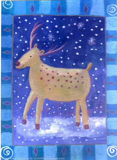 reindeer with snow Acrylic on paper width=