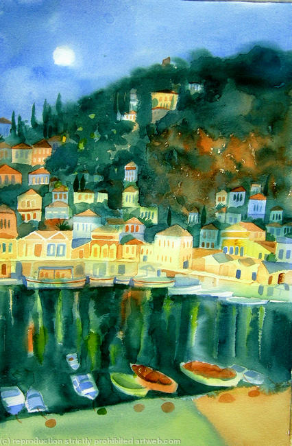Night Harbour watercolour on paper itemprop=