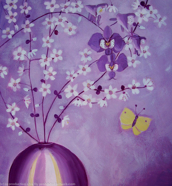 Purple orchids and blossom Acrylic itemprop=