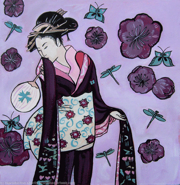 Geisha in purple Acrylic and Indian ink on paper itemprop=