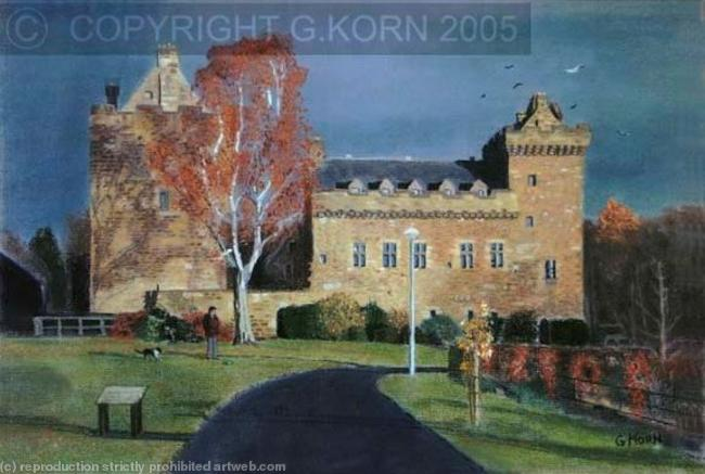 Dean Castle in Autumn Pastel 60x47cm