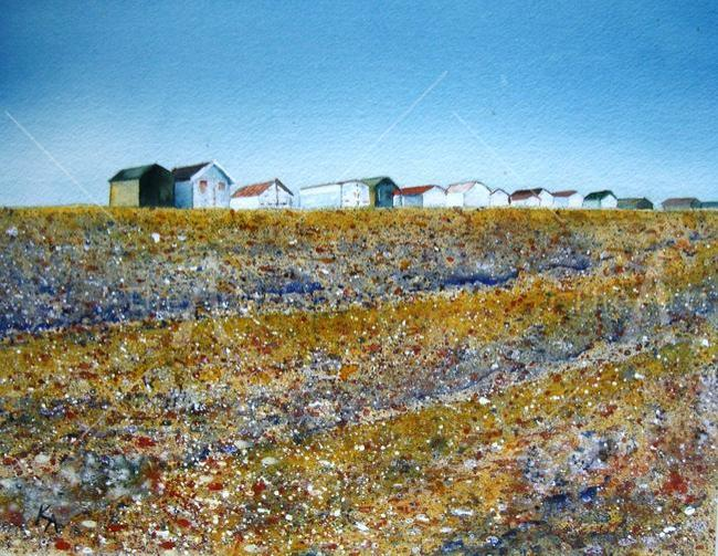 Summer Beach Huts limited edition giclee print. width=