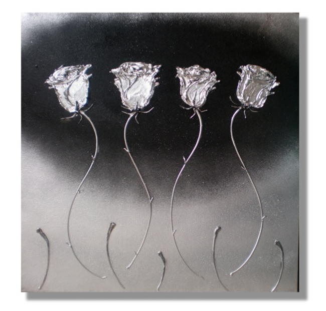 Four Silver Roses Mixed Media on canvas. FOR SALE £110 FREE UK P+P 61x61cm