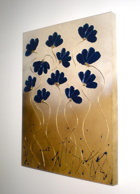 Truly Blue Mixed Media on box canvas. FREE UK P P. 45x60cm