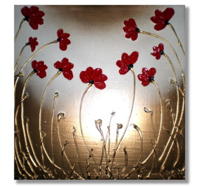 Red Poppy Gathering Mixed Media on box canvas. FREE UK P P itemprop=