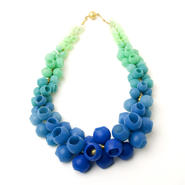 Plume necklace - blue/green fade
