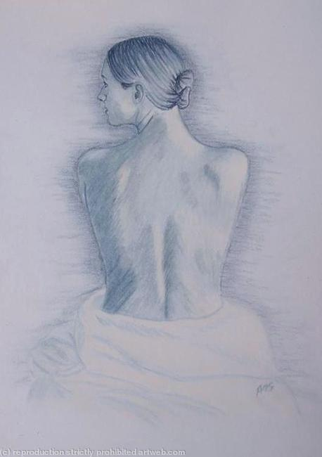FEMALE NUDE 16 Blue - SOLD Pastels on Card 21x30cm