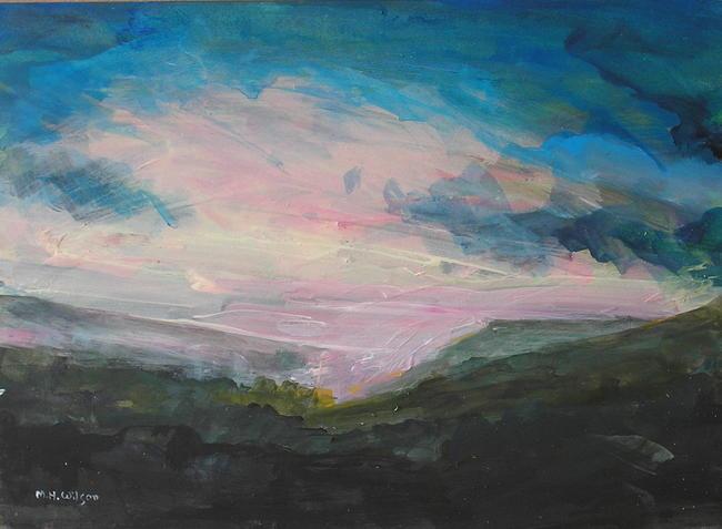 Sunrise, mist rain [from Higger Tor] Acrylic 40x30cm