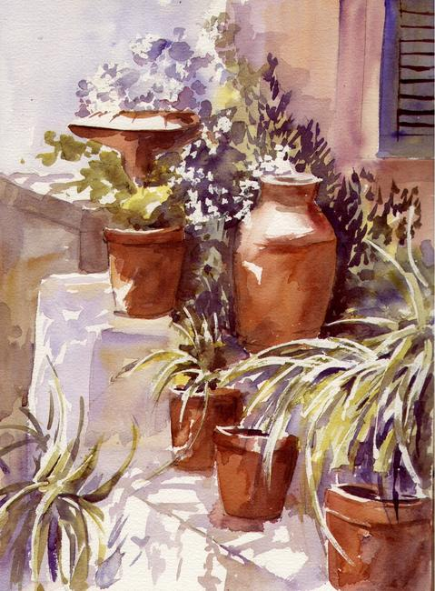 Patio Pots watercolour on Arches 41x51cm