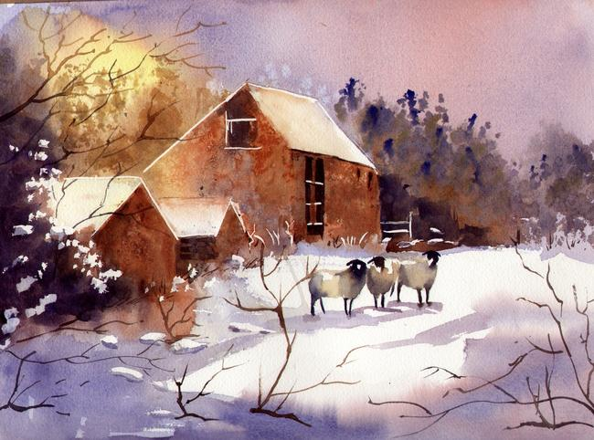 Winter Barns and sheep watercolour, on Arches Aqurelle width=