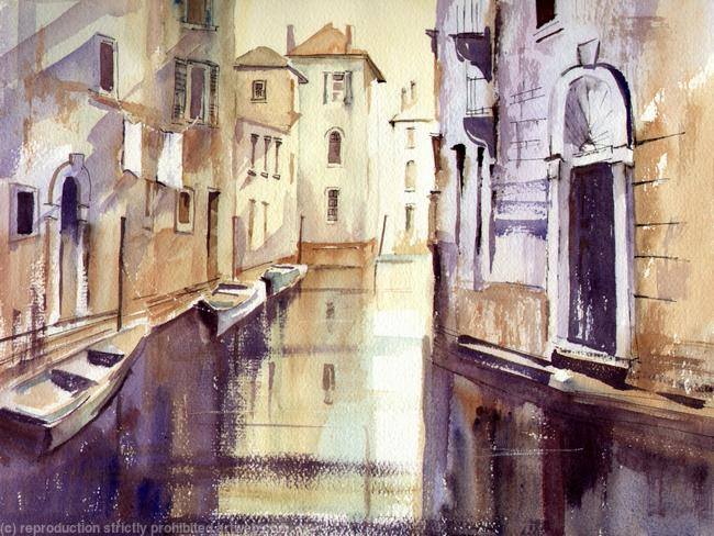 WASHDAY, VENICE watercolour/mixed, on Arches 51x41cm