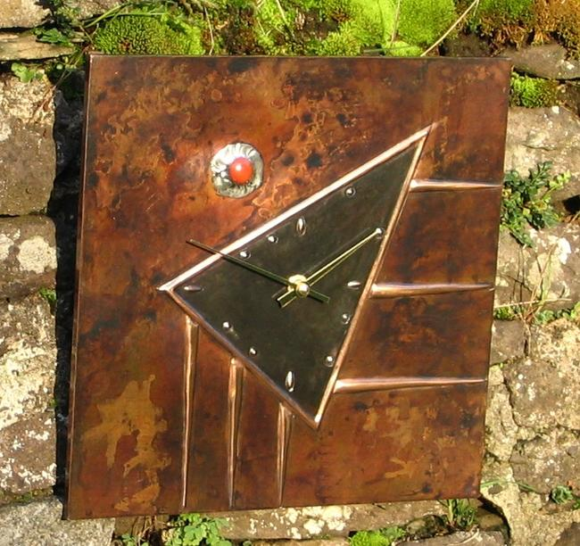 copper wall clock copper, jasper 26x26cm