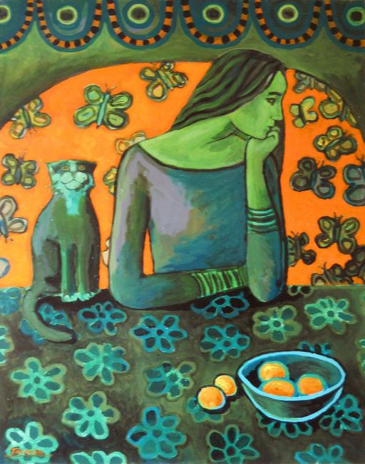 Green girl and a cat acrylic on canvas 60x80cm