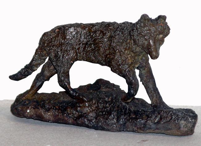 Running wolf bronze 7x6cm