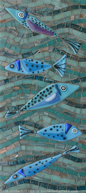 Blue Fish Glass Fusions and Vitreous Glass 19x42cm