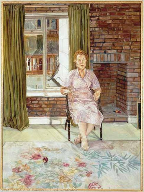 Kitty Foreman, the artists mother. Oil on Canvas width=