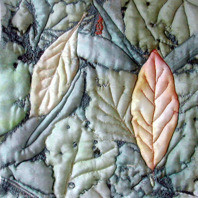 Fallen leaves printed silk embroidery 30x30cm