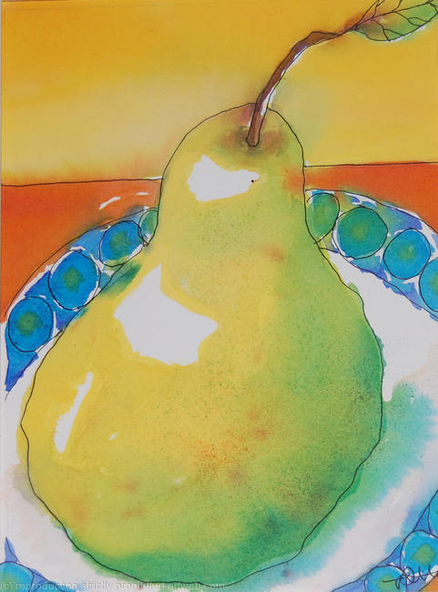 Green pear orange cloth watercolour/ink on watercolour paper 13x18cm