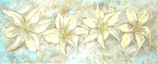 Lilies acrylic on 3d canvas 102x41cm