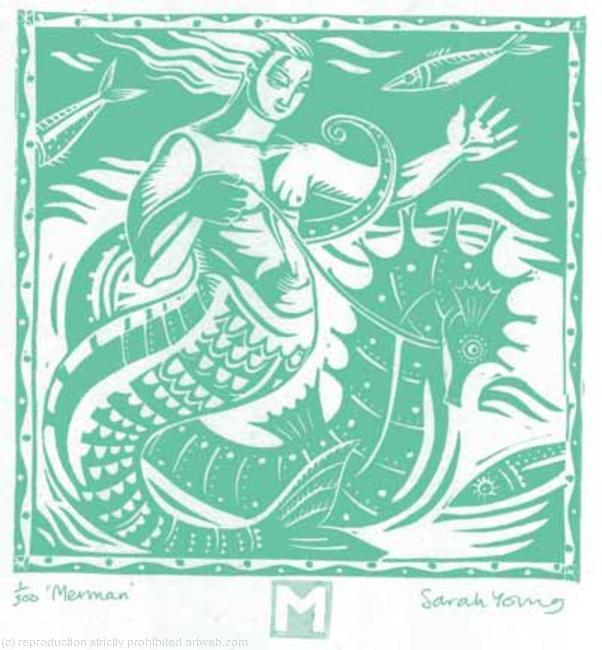 Merman Linocut 16x17cm