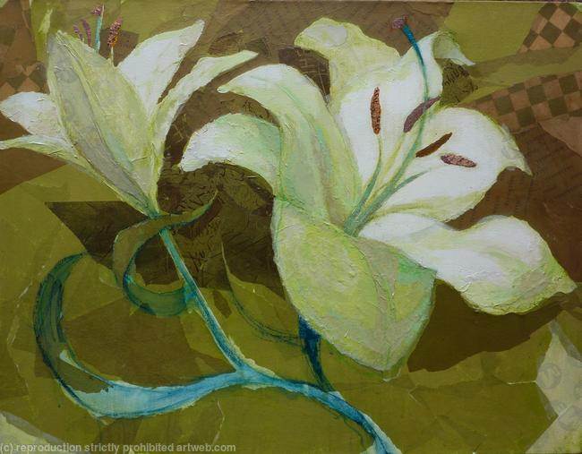 Lilies , green and gold. mixed media on canvas. width=