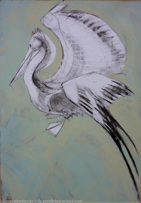 Pelican,blue charcoal and emulsion on paper itemprop=