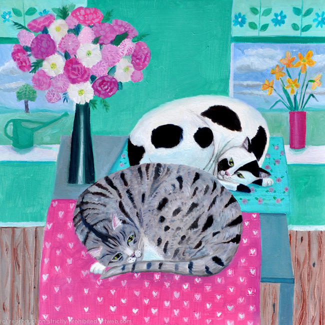 Cats in spring SOLD oil on paper width=