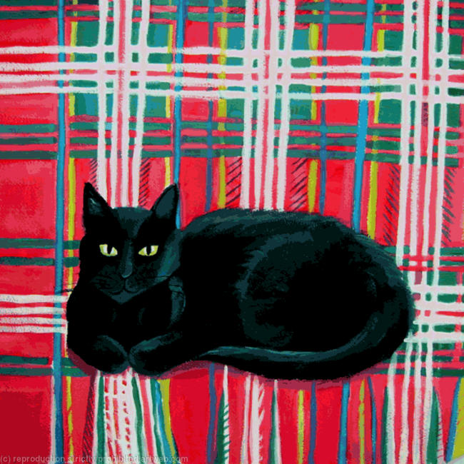 Tilly on tartan SOLD Acrylic on canvas itemprop=