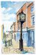 Whitchurch Town clock watercolour on 6 by 4 inch white greeting card with envelope in cello bag.