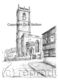 Whitchurch Shropshire St. Alkmund's Church pen drawing as a print on a 6 by 4 inch greeting card with envelope.