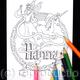 Fairy and unicorn colouring in card with NANNY woven into the design. Any name can be woven into the design in this way. Colour to send or send to be coloured.