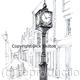 Whitchurch town clock print of a pen drawing by Dick Skilton, on 6 by 4 inch white greeting card with envelope.