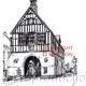 Bridgnorth Town Hall black and white drawing as a greeting card or bespoke notelet. Prints and postcards available.